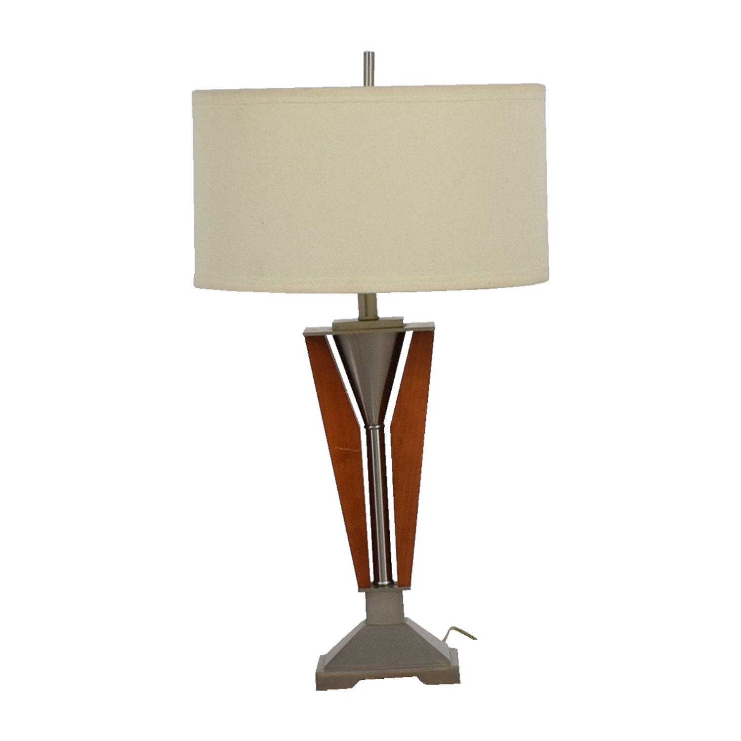IKEA IKEA Mohagany and Stainless Steel Table Lamp CREAM / SILVER / LIGHT BROWN