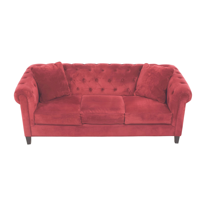Macys Macys Red Tufted Three-Cushion Sofa second hand