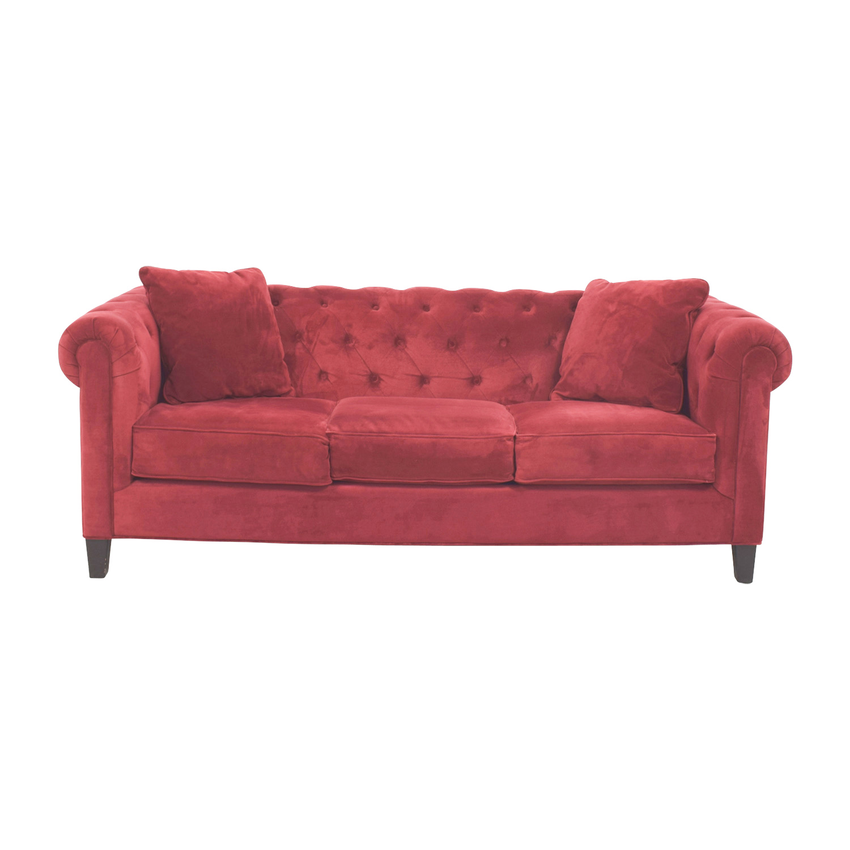 Macys Red Tufted Three-Cushion Sofa Macys