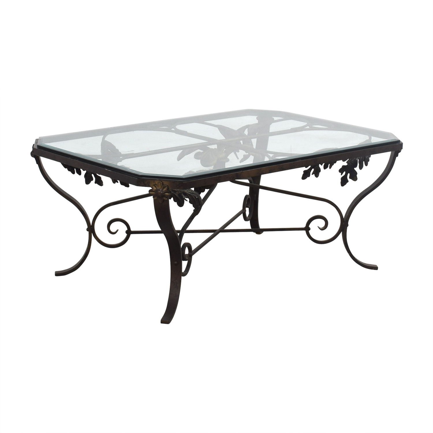 54 Off Glass And Metal Leaf Scroll Coffee Table Tables