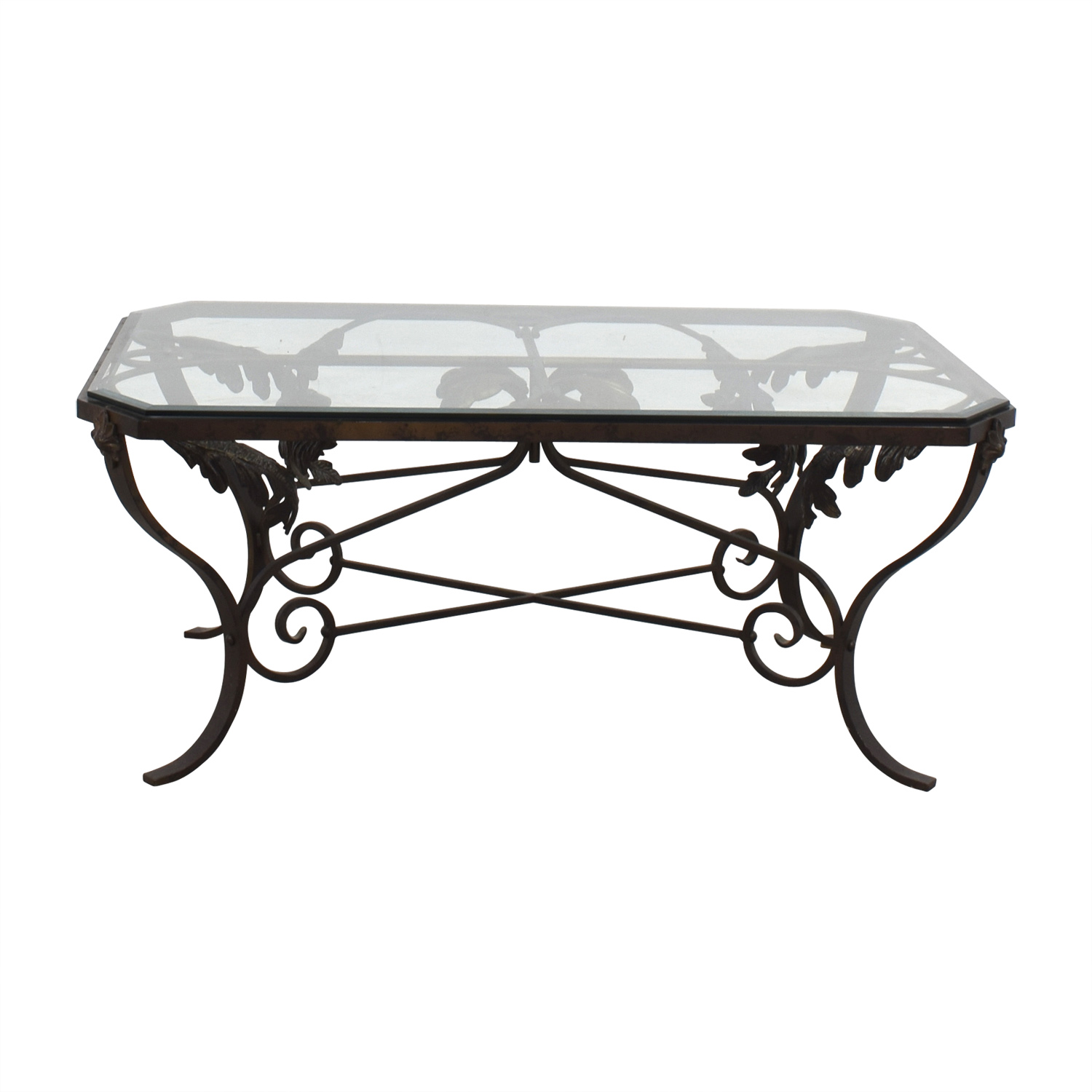 90 Off Glass And Metal Leaf Scroll Coffee Table Tables
