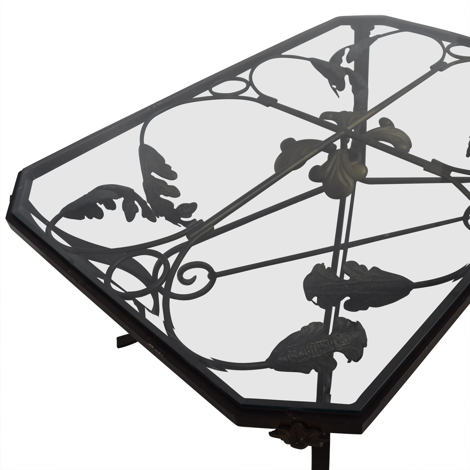 Glass And Metal Leaf Scroll Coffee Table / Tables