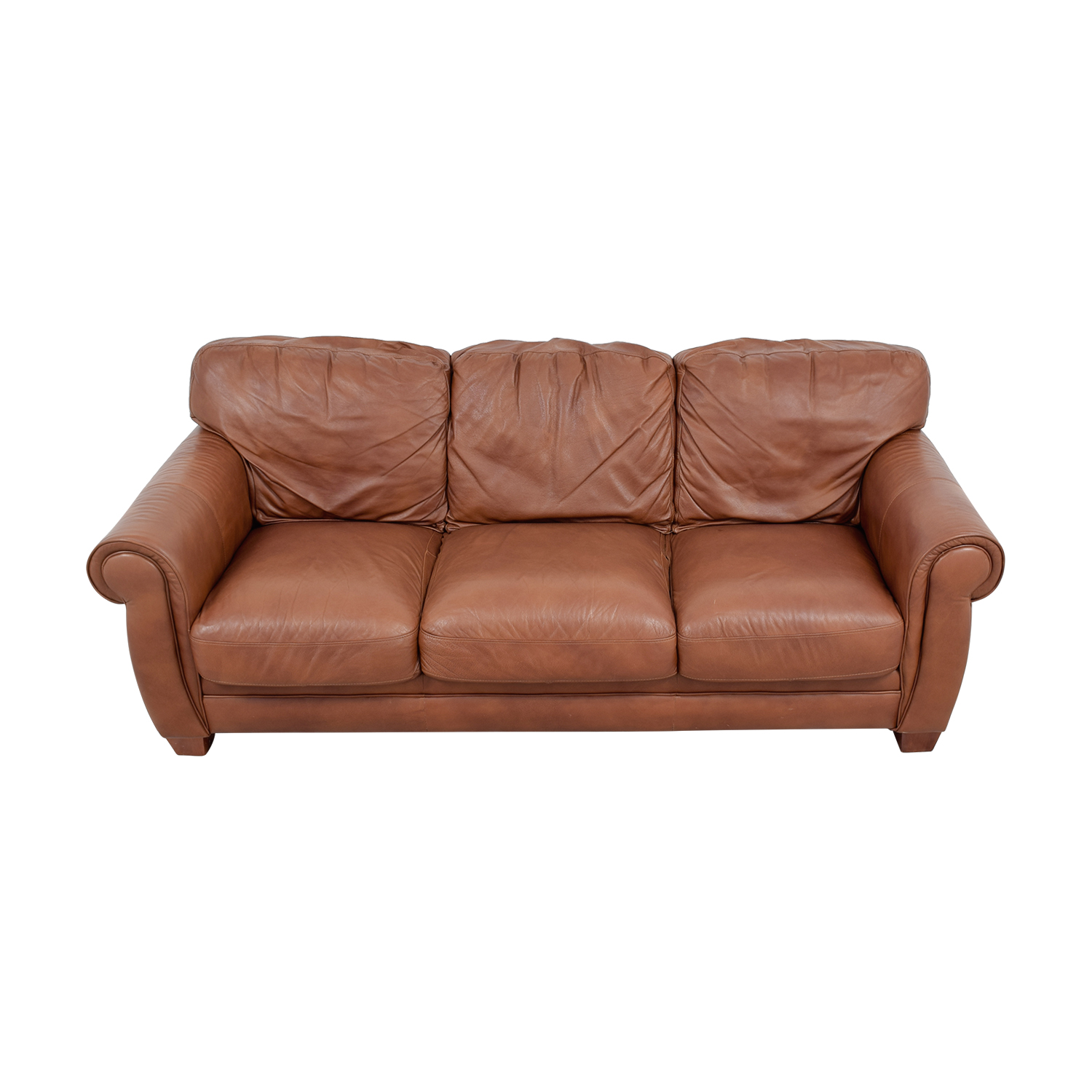 buy Klaussner Brown Leather Three-Cushion Couch Klaussner