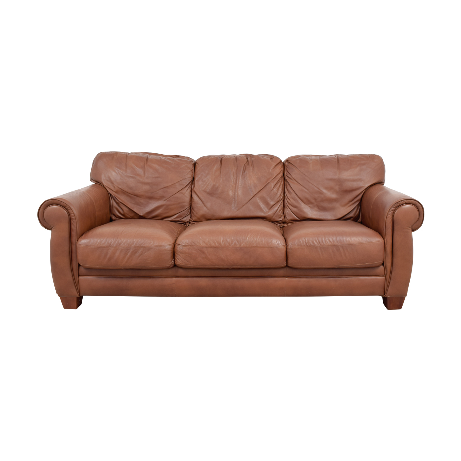 Klaussner Klaussner Brown Leather Three-Cushion Couch second hand