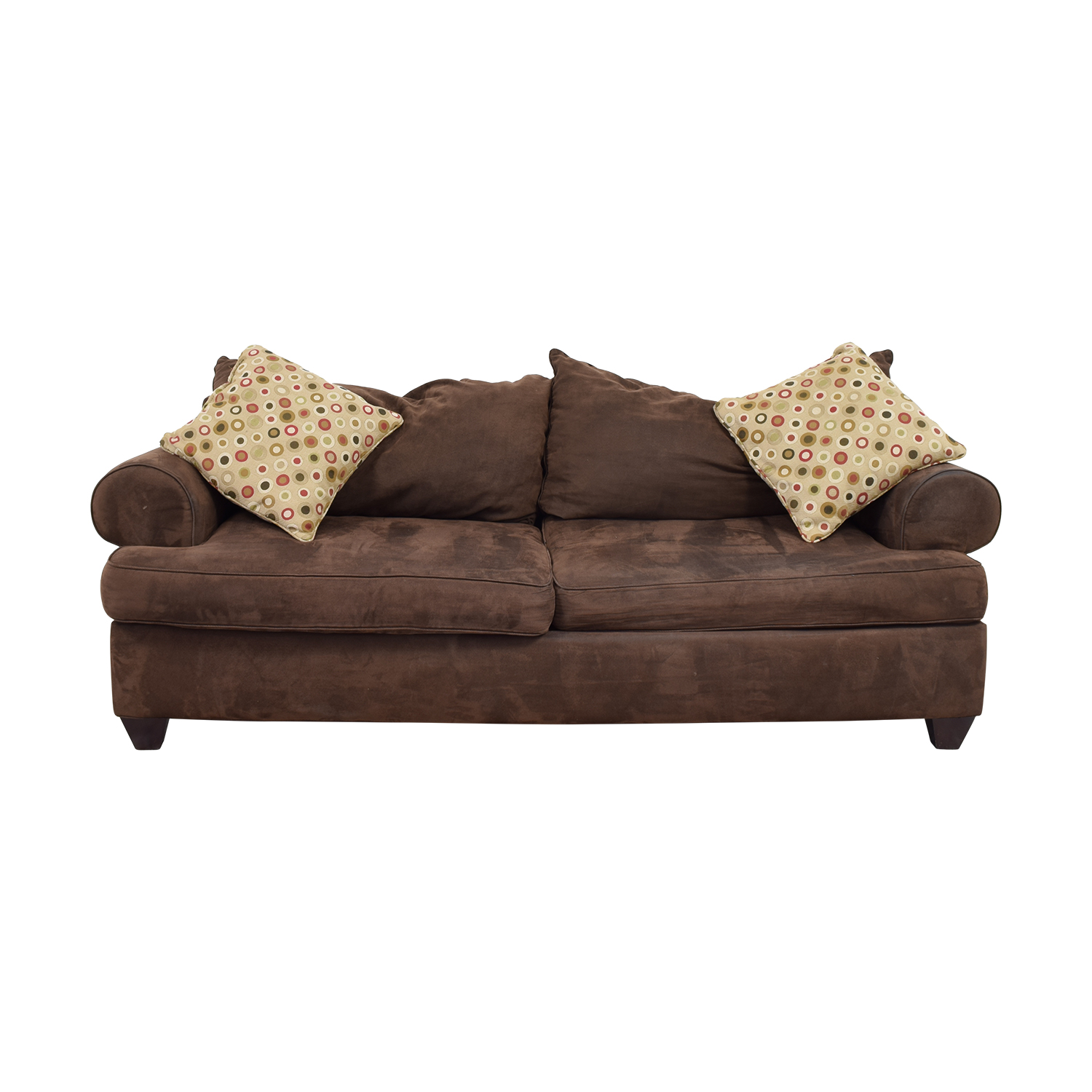 buy Raymour & Flanigan Brown Two-Cushion Sofa with Pillows Raymour and Flanigan Sofas