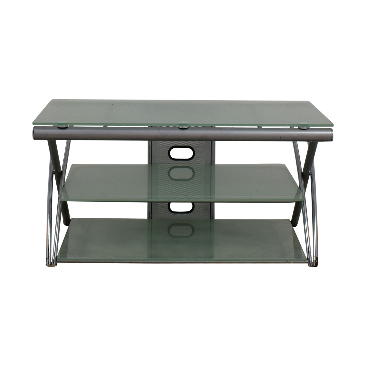 Tinted Glass and Metal TV Stand for sale