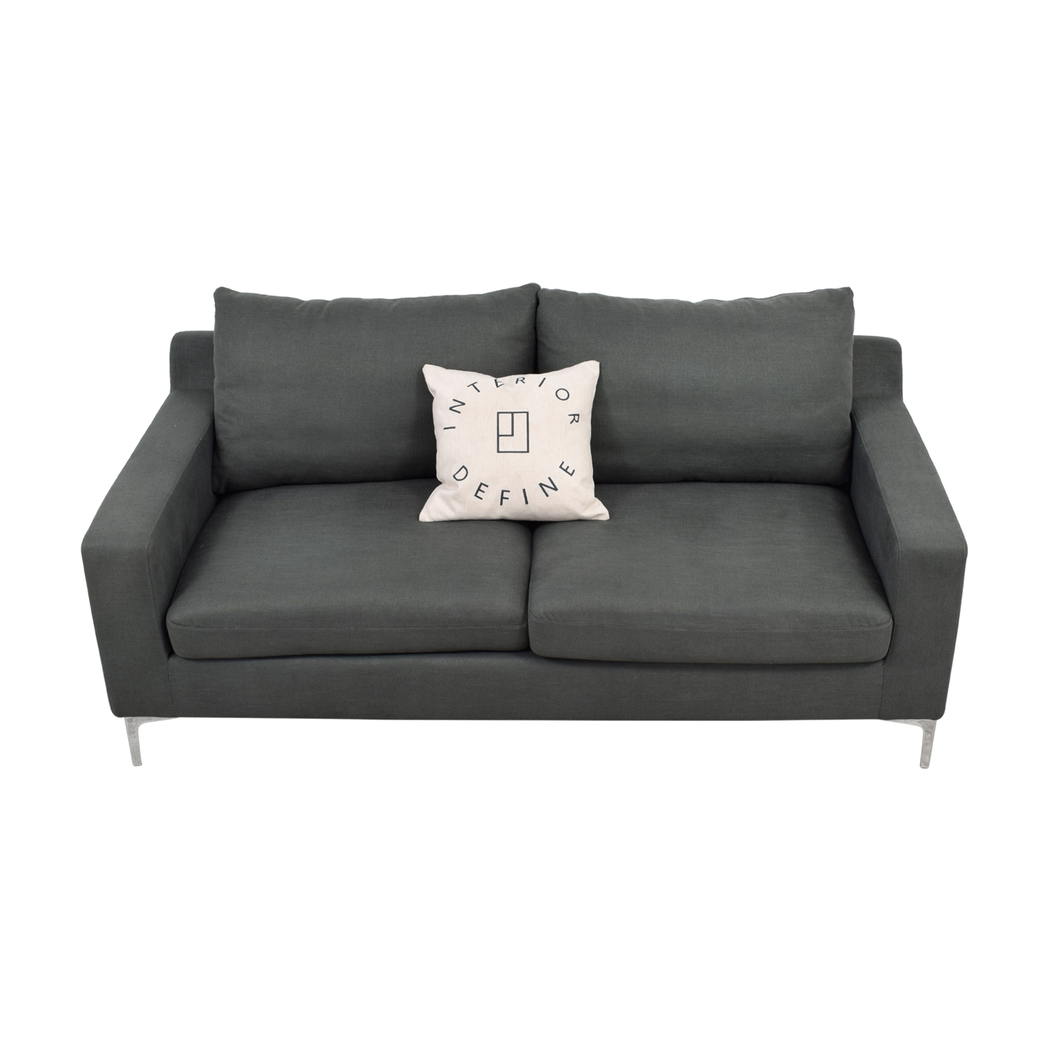 Gray Two Cushion Sofa with Pillow sale