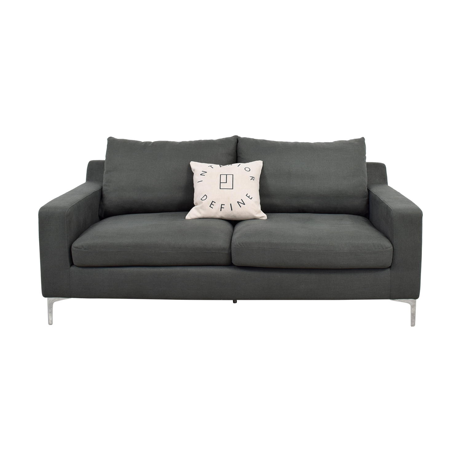 Gray Two Cushion Sofa with Pillow for sale