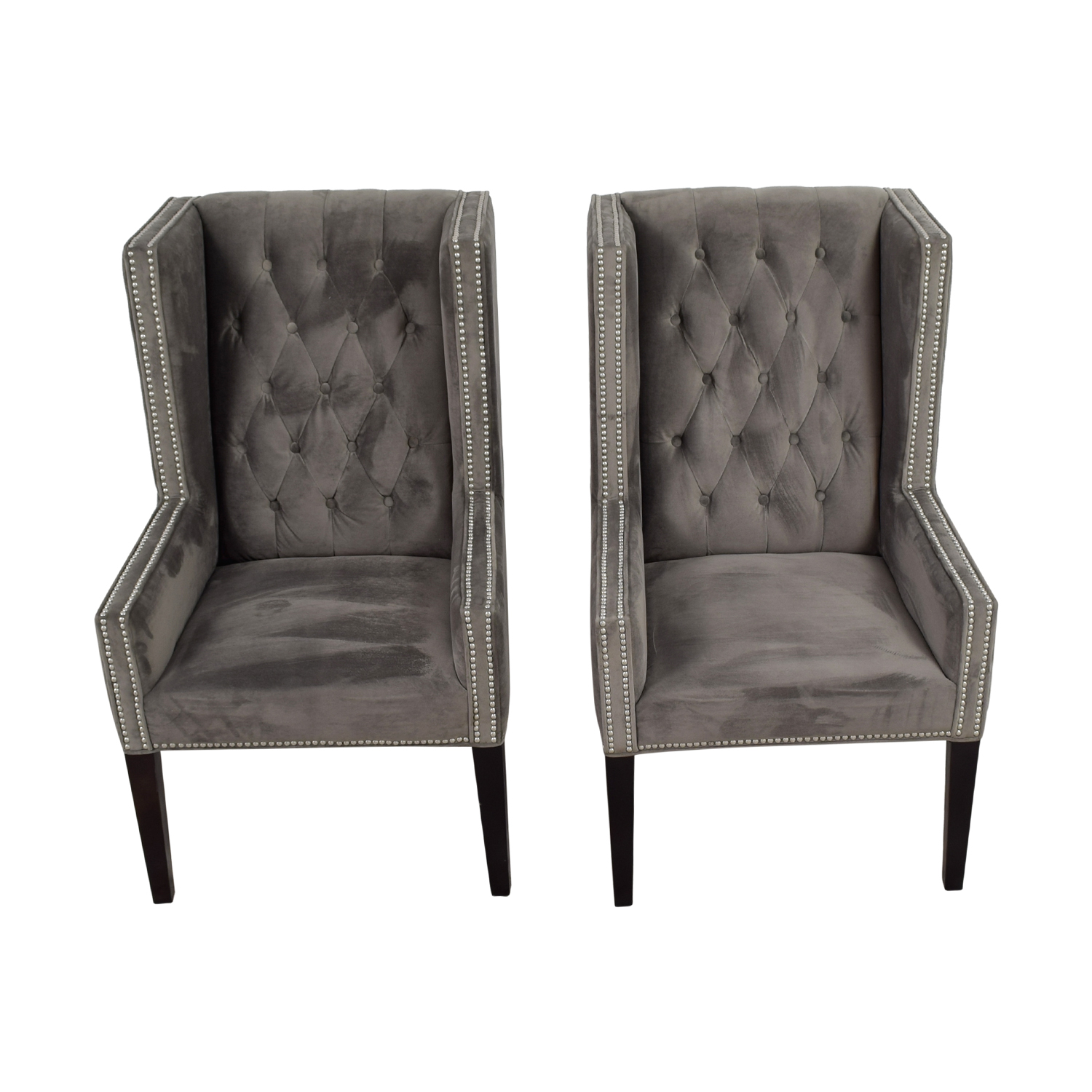 Z Gallerie Z Gallerie Logan Grey Tufted Wing Chairs