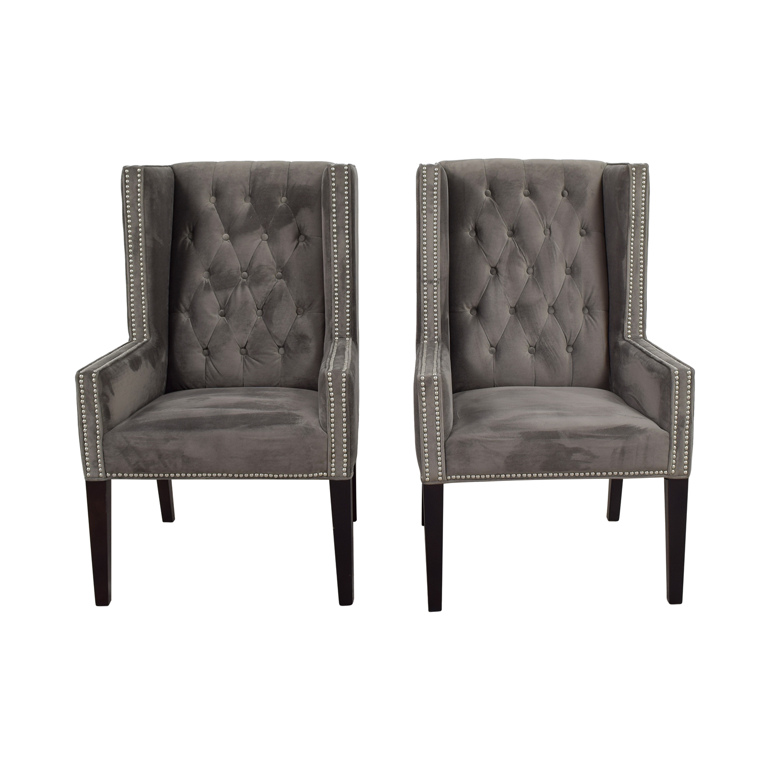 buy Z Gallerie Logan Grey Tufted Wing Chairs Z Gallerie