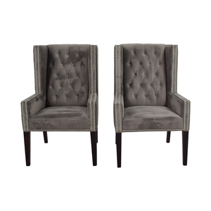 Z Gallerie Z Gallerie Logan Grey Tufted Wing Chairs nj