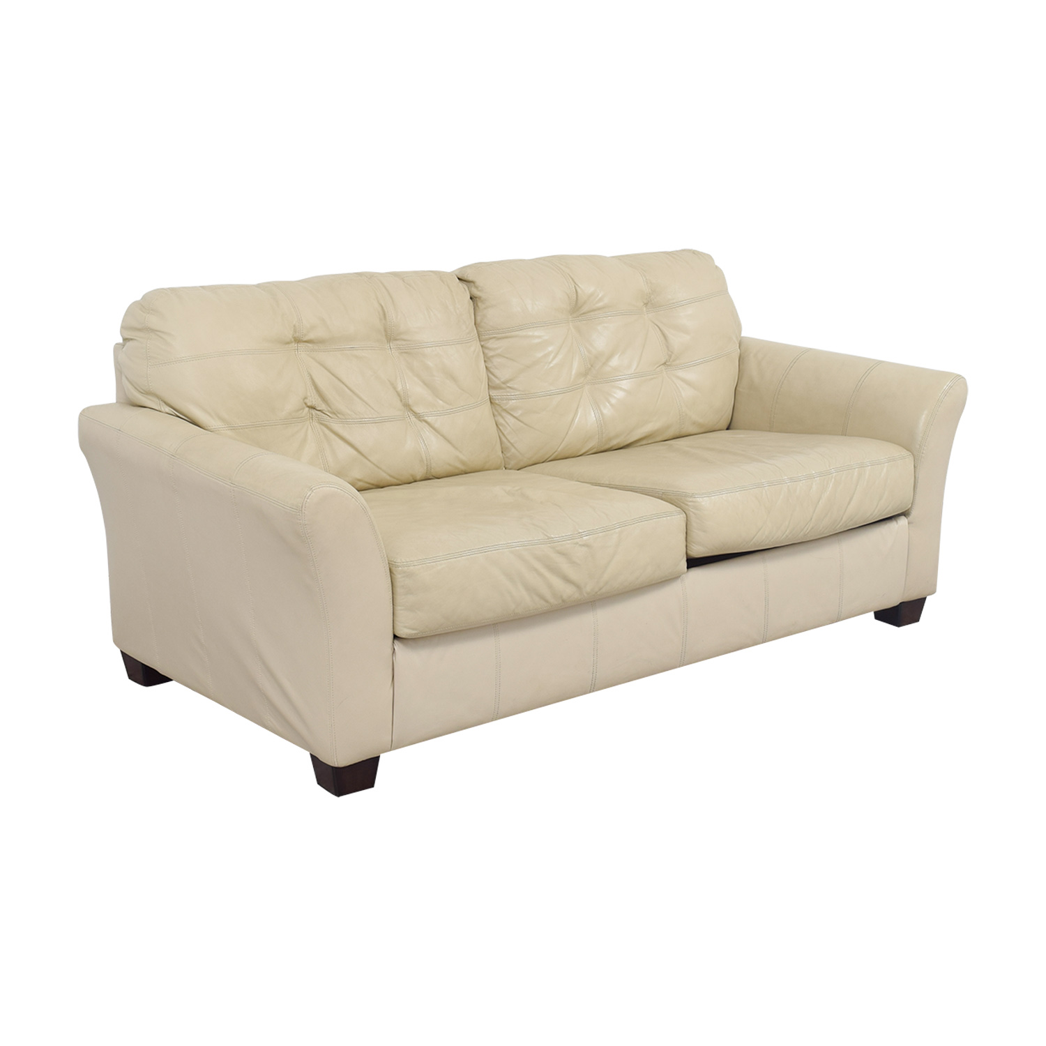 90% OFF - Ashley Furniture Ashley Furniture Tufted Cream Leather Two ...