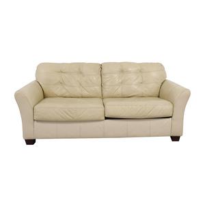 Ashley Furniture Ashley Furniture Tufted Cream Leather Two-Cushion Sofa used