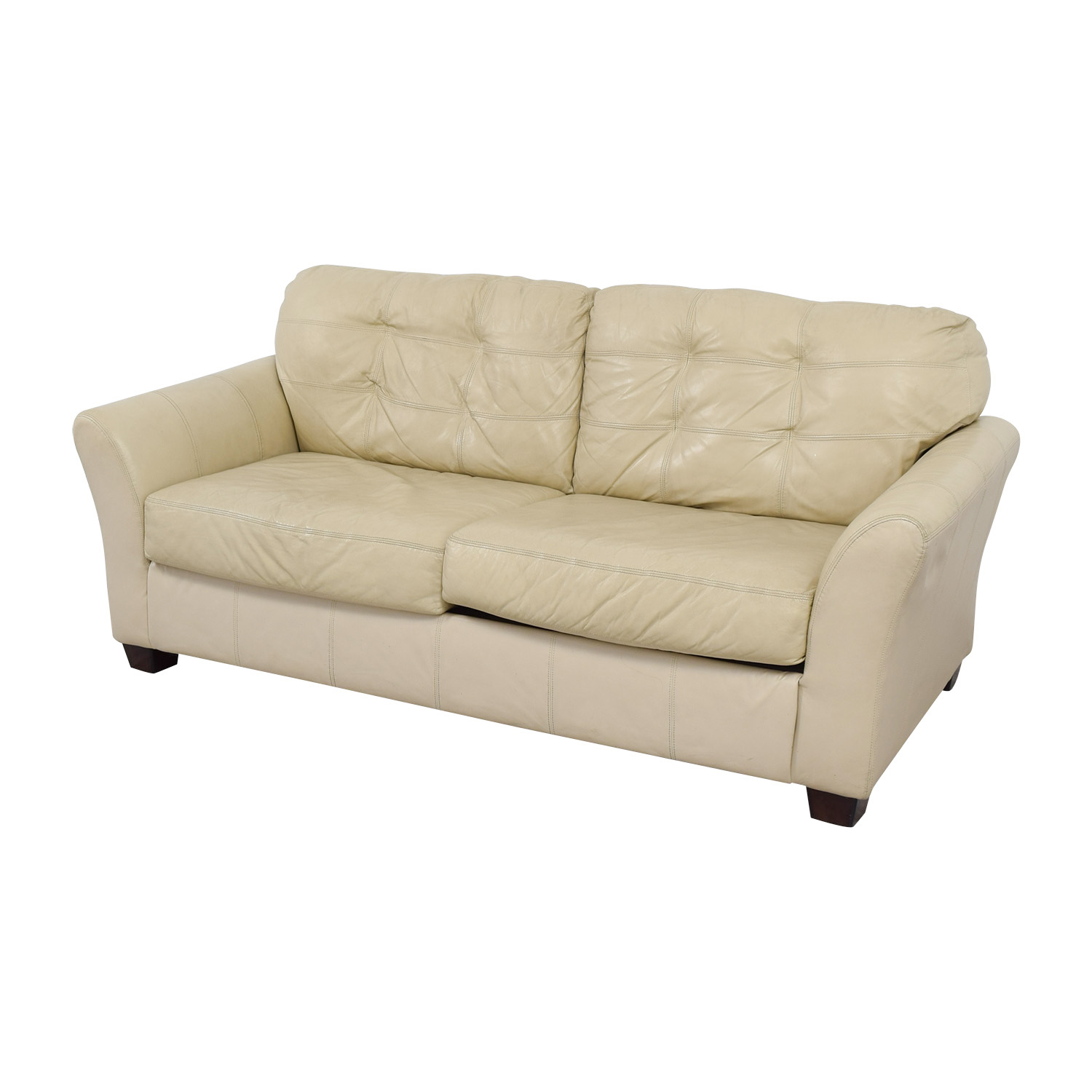 90 Off Ashley Furniture Ashley Furniture Tufted Cream Leather Two Cushion Sofa Sofas