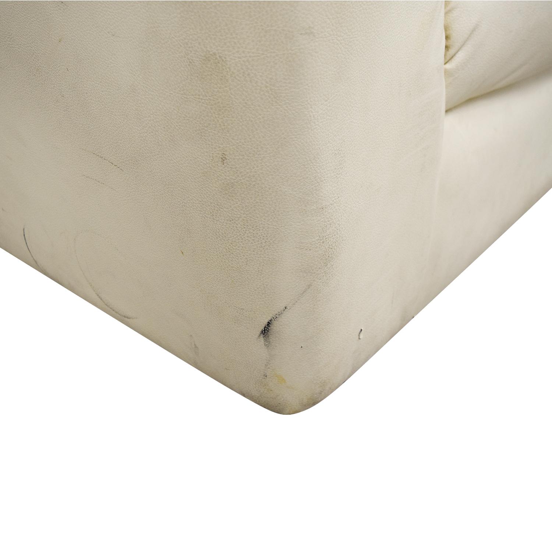 shop Cream Leather Pillowed Arm Sofa  Classic Sofas