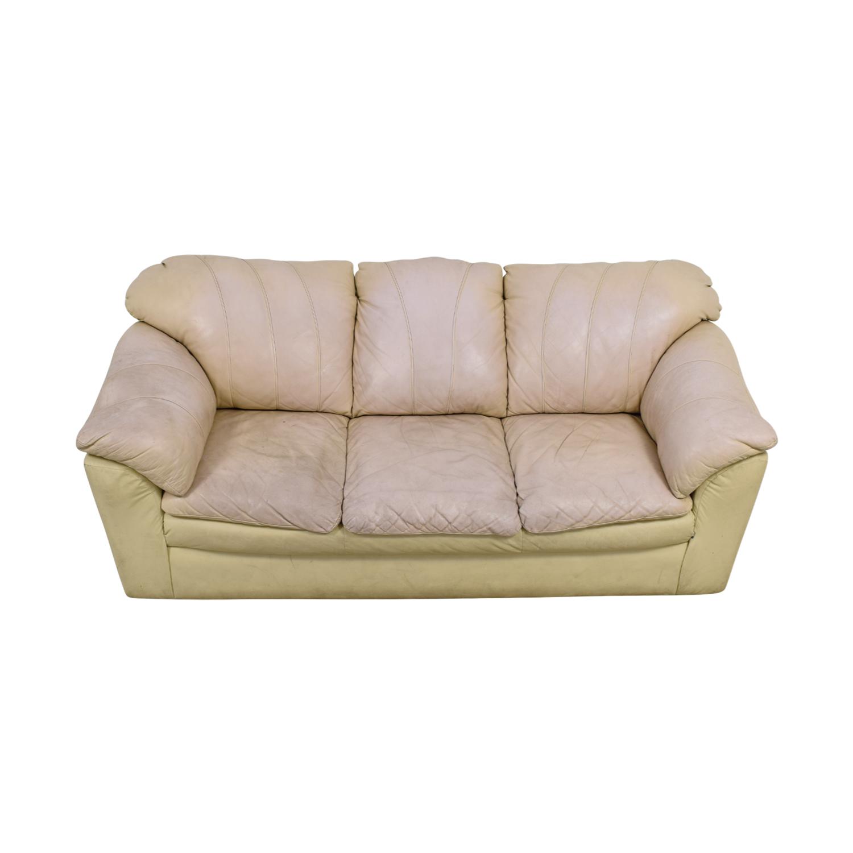 Cream Leather Pillowed Arm Sofa / Sofas