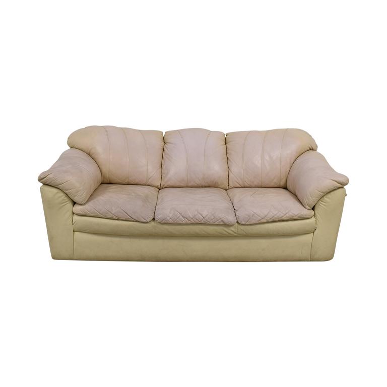 buy Cream Leather Pillowed Arm Sofa