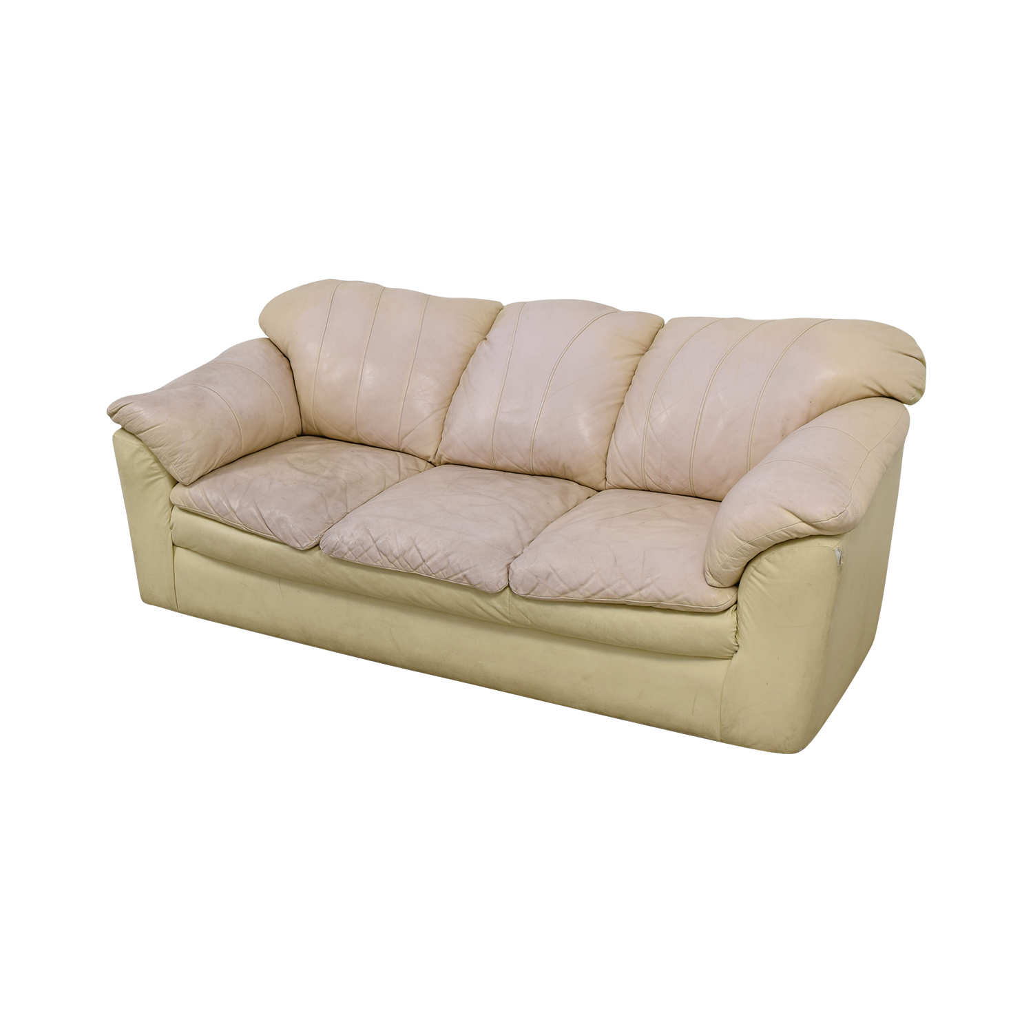Cream Leather Pillowed Arm Sofa for sale
