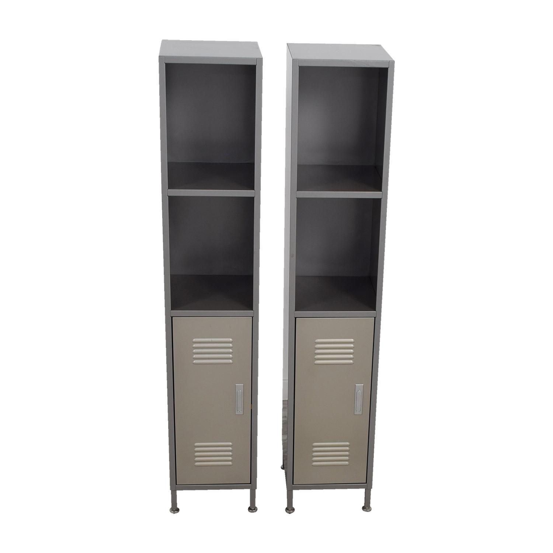 PB Teen PB Teen Grey Metal High Locker Cabinets Gray