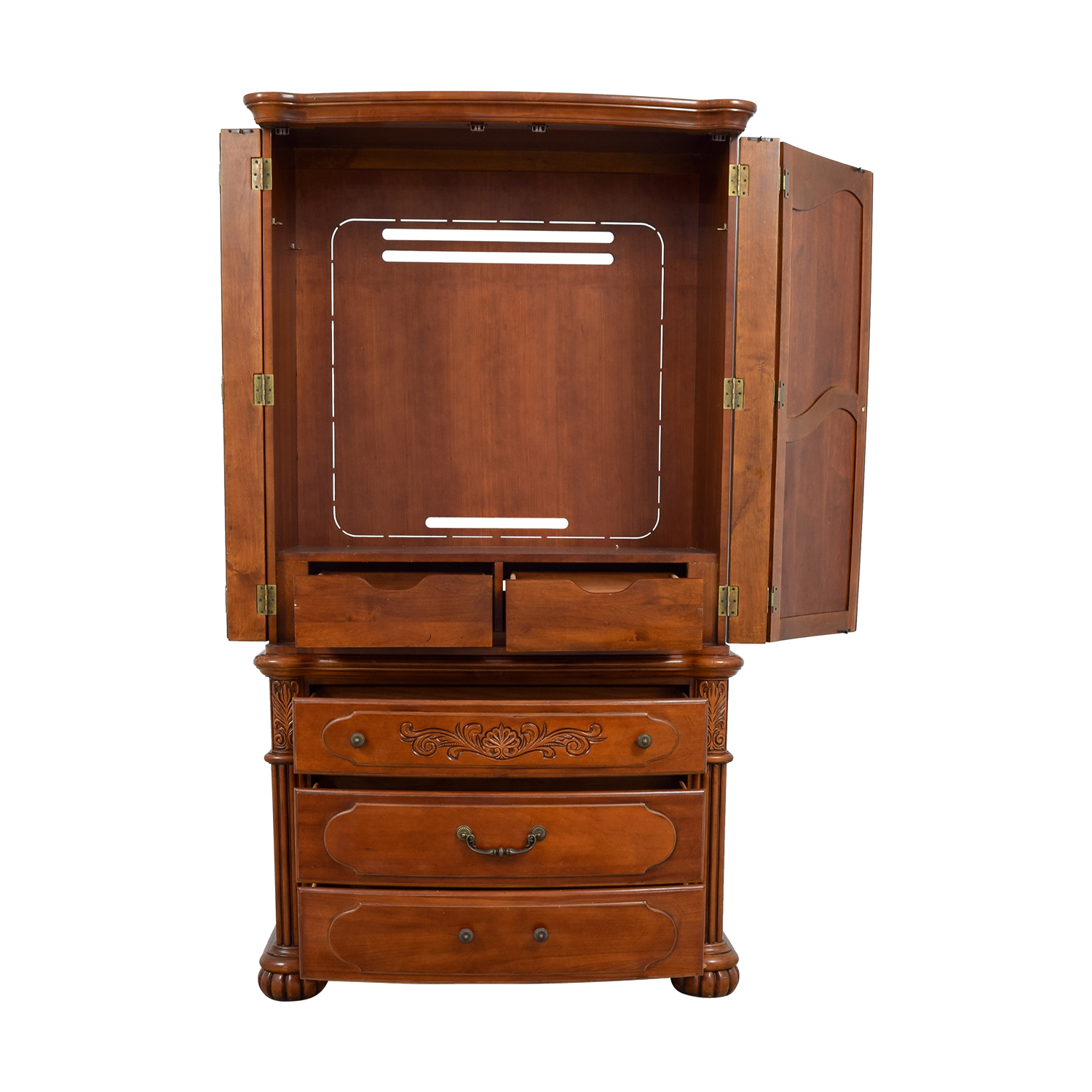 buy Carved Wood TV Armoire