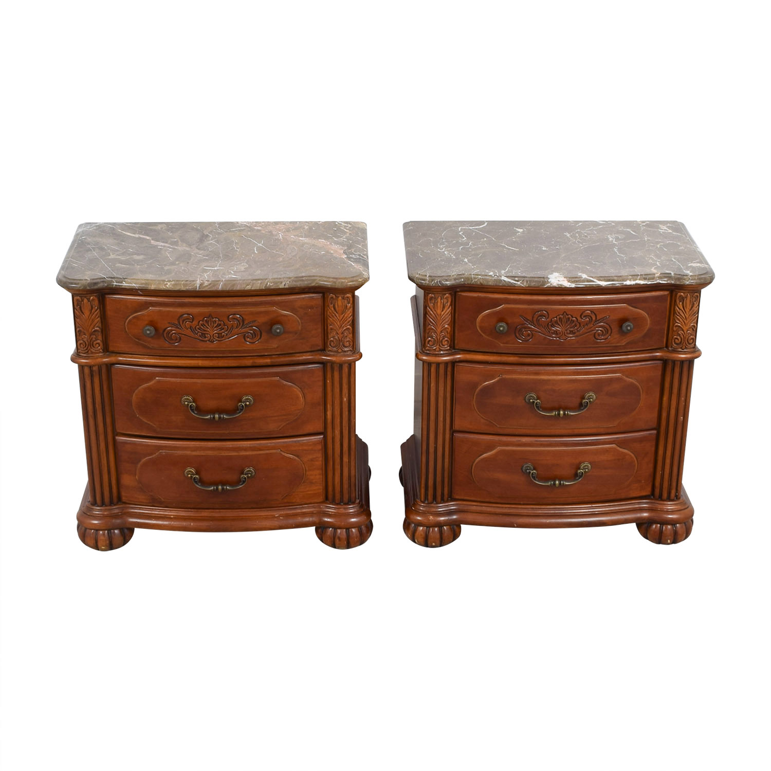 shop Marble Top and Carved Wood Base End Tables Sofas