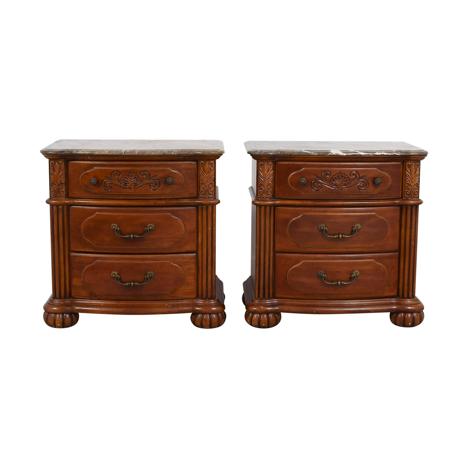 Marble Top and Carved Wood Base End Tables discount