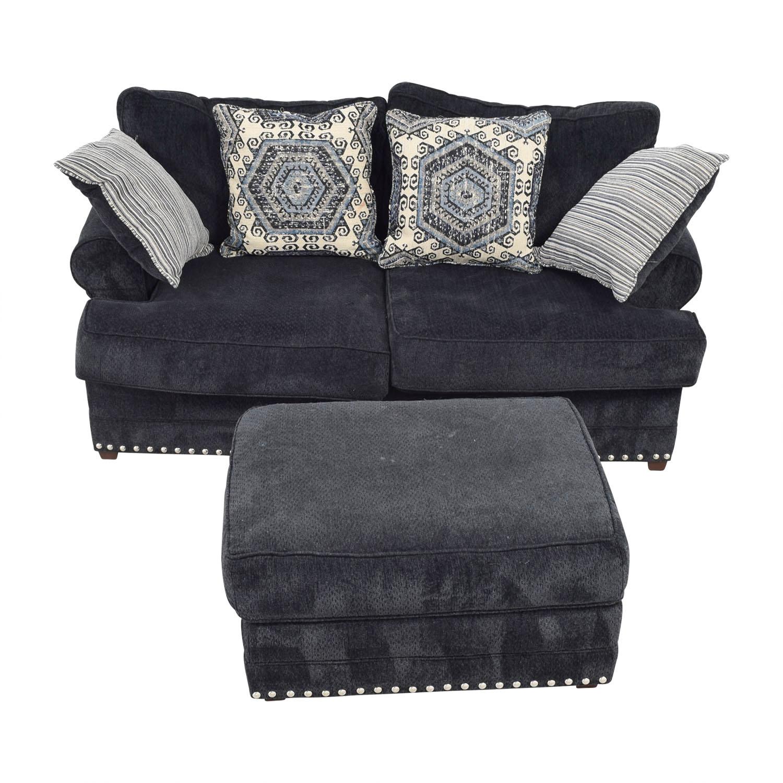 Bobs Furniture Dakota Navy Nailhead Loveseat with Ottoman / Sofas