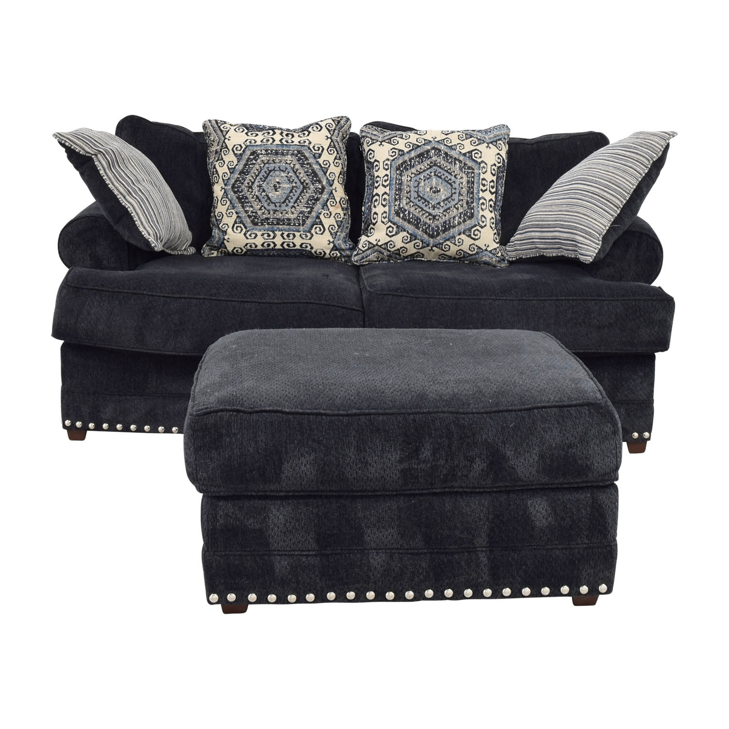 Bobs Furniture Bobs Furniture Dakota Navy Nailhead Loveseat with Ottoman nj