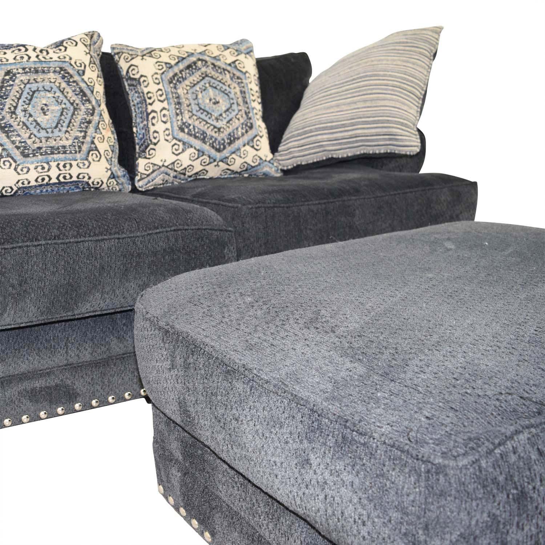shop Bobs Furniture Dakota Navy Nailhead Loveseat with Ottoman Bobs Furniture