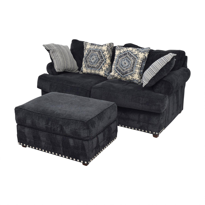 Awe Inspiring 77 Off Bobs Discount Furniture Bobs Furniture Dakota Navy Nailhead Loveseat With Ottoman Sofas Machost Co Dining Chair Design Ideas Machostcouk