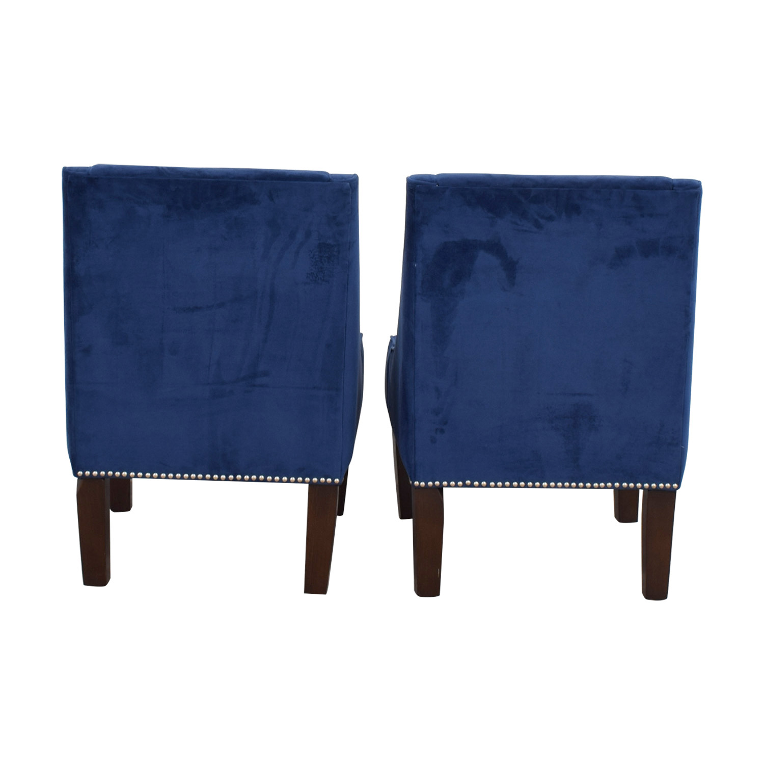 LIZA Liza Navy Velvet Nailhead Winged Accent Chairs price