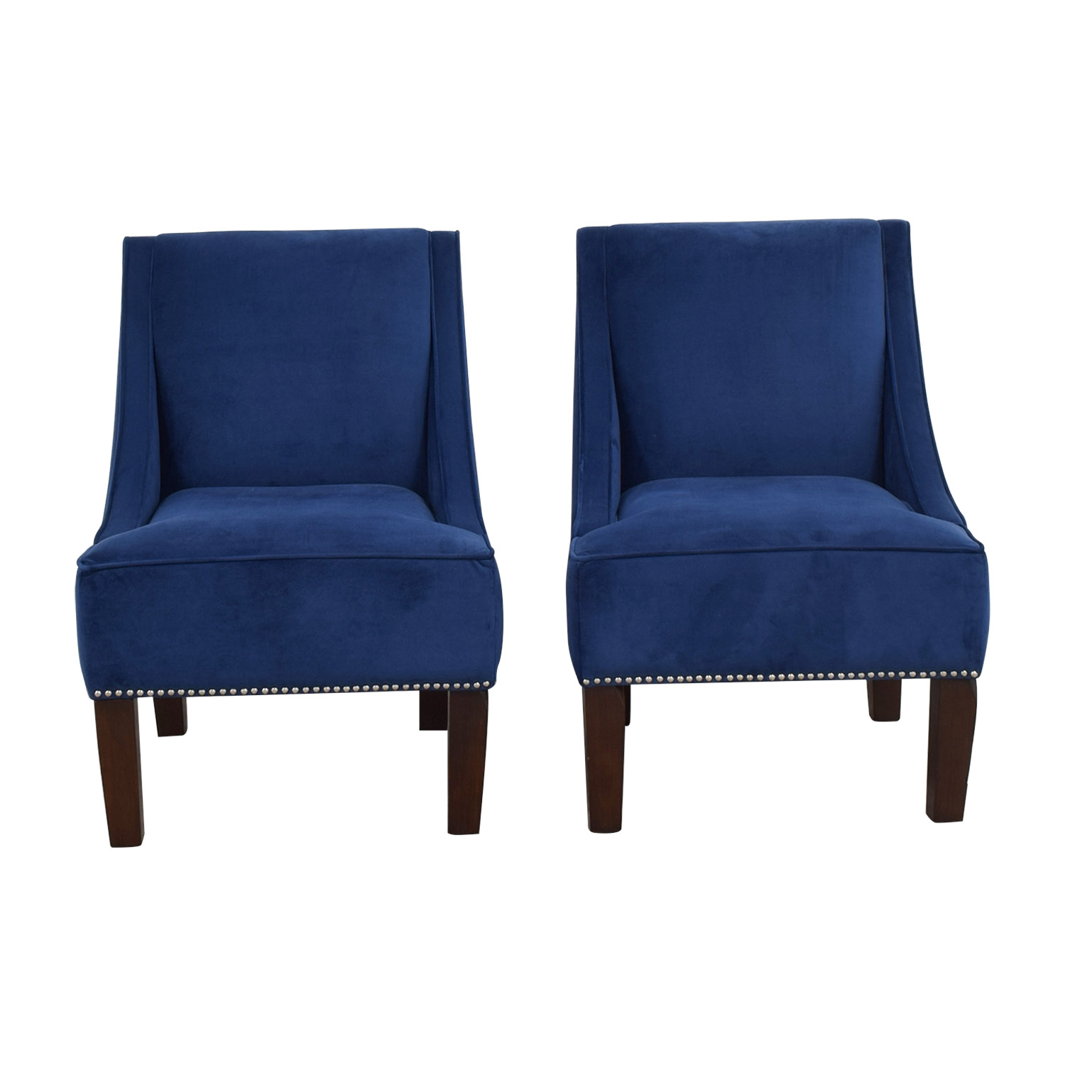 Liza Navy Velvet Nailhead Winged Accent Chairs / Accent Chairs