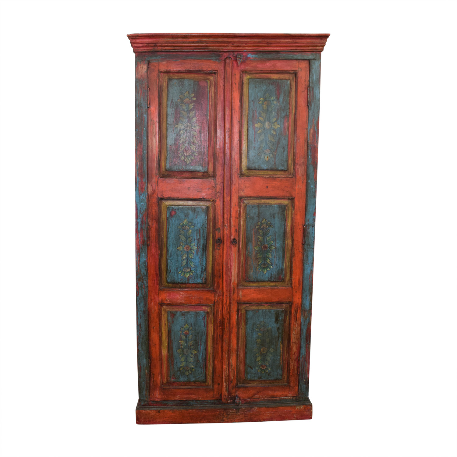 Nadeau Nadeau Rustic Blue and Red Armoire nyc