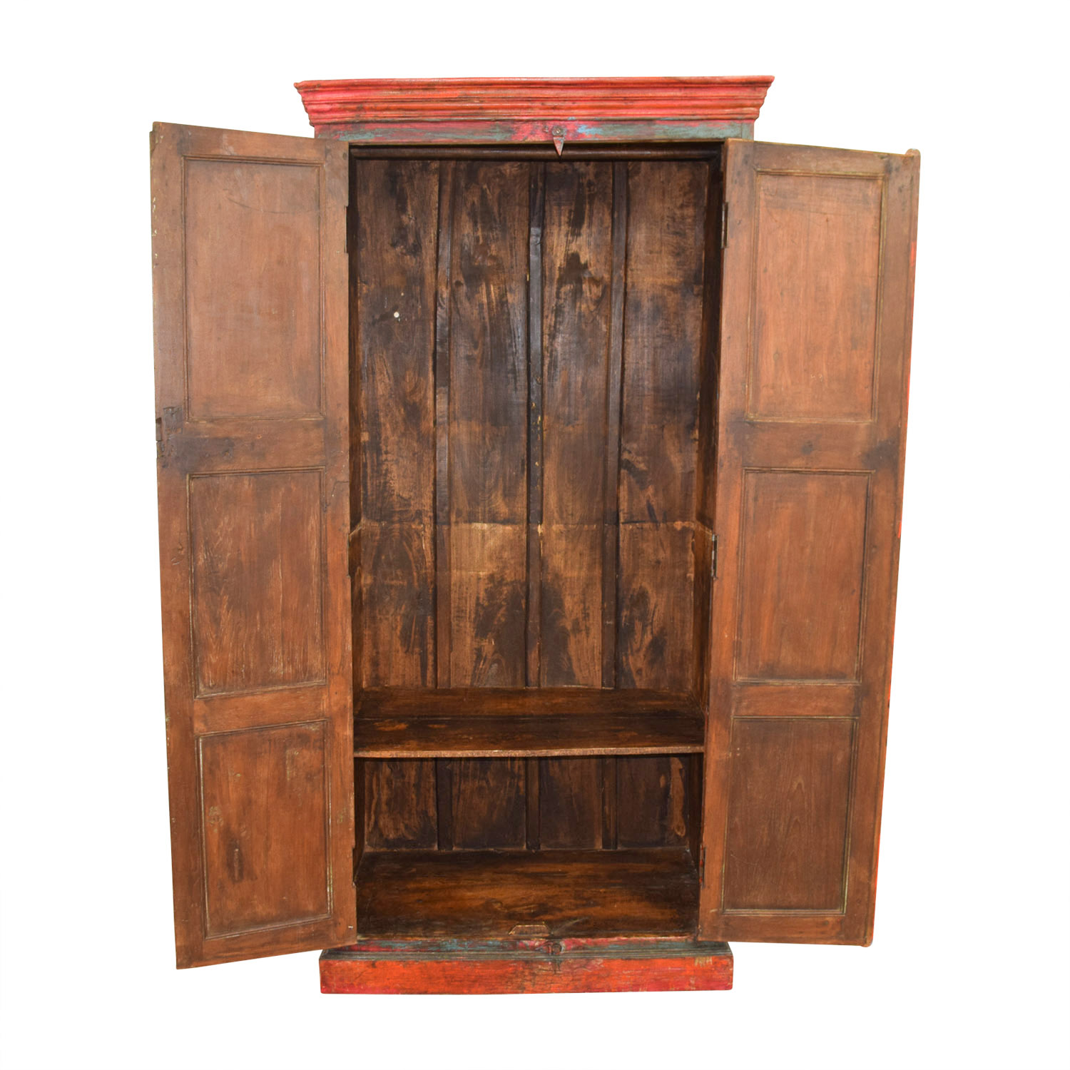buy Nadeau Rustic Blue and Red Armoire Nadeau Wardrobes & Armoires