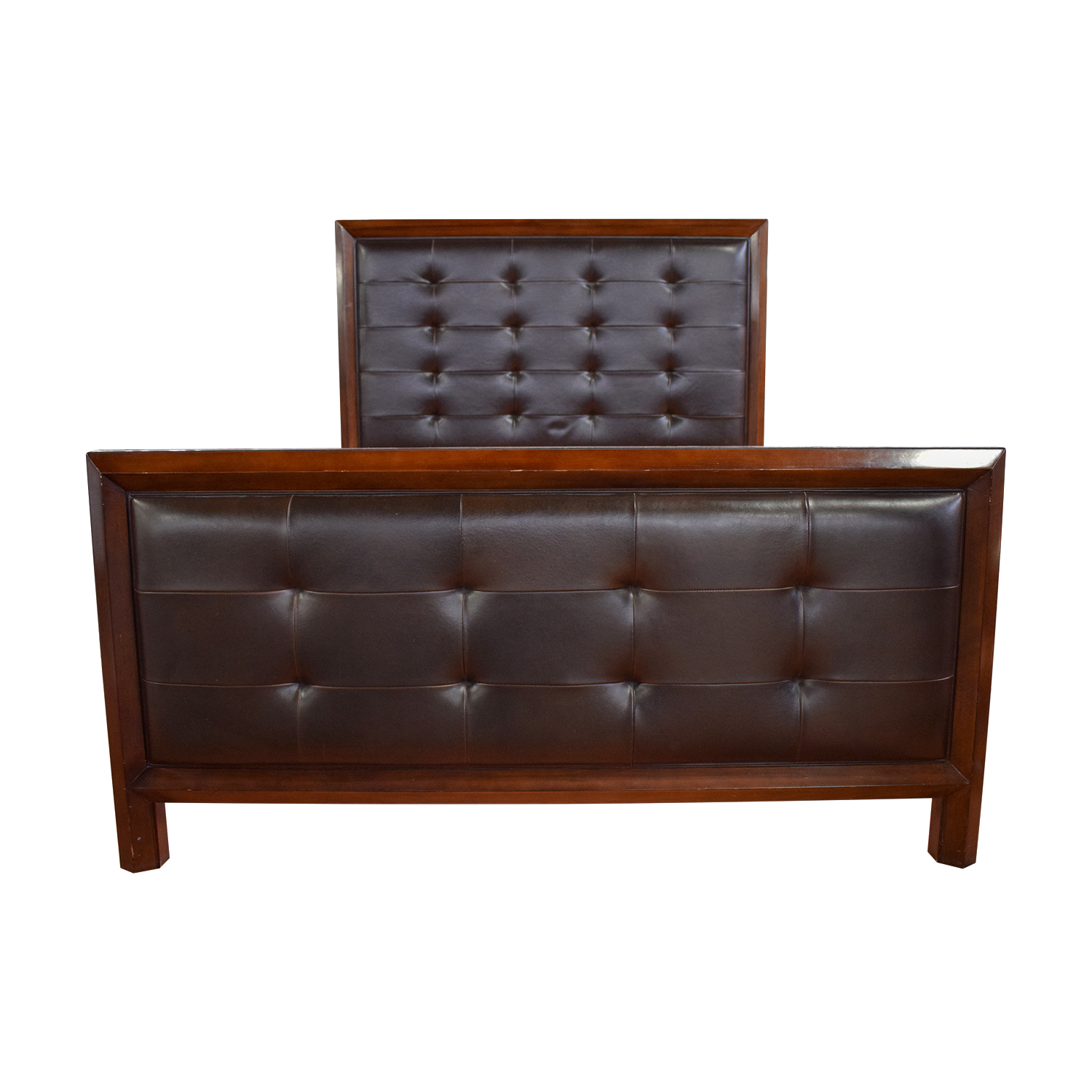 Tufted Brown Leather and Wood Queen Bed Frame on sale