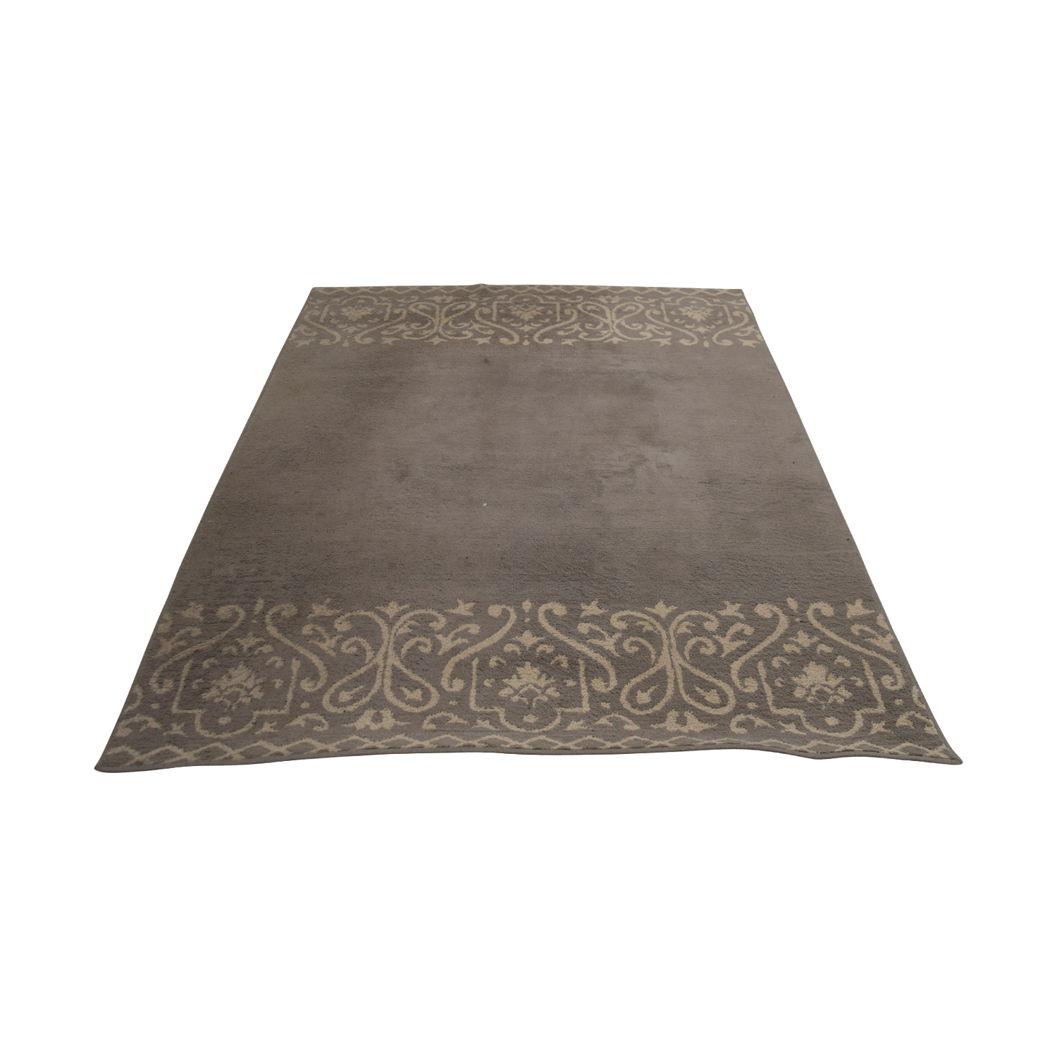buy Grey and White Border Rug