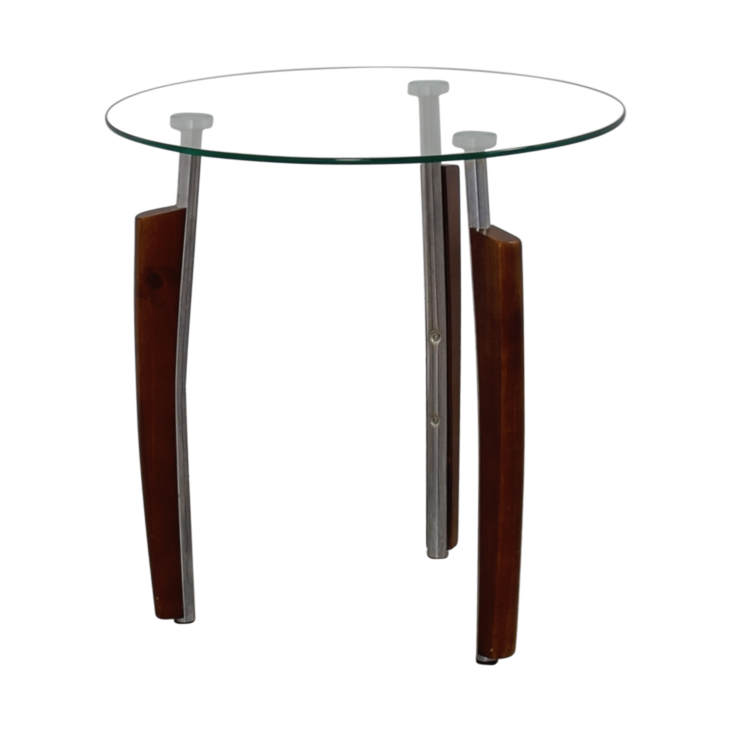Glass Wooden Side Tables: Round Glass And Wood Side Table / Tables