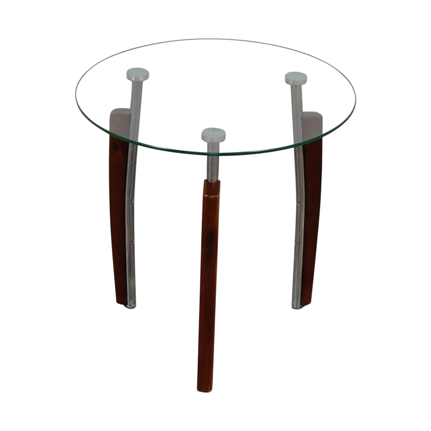 Round Glass and Wood Side Table dimensions