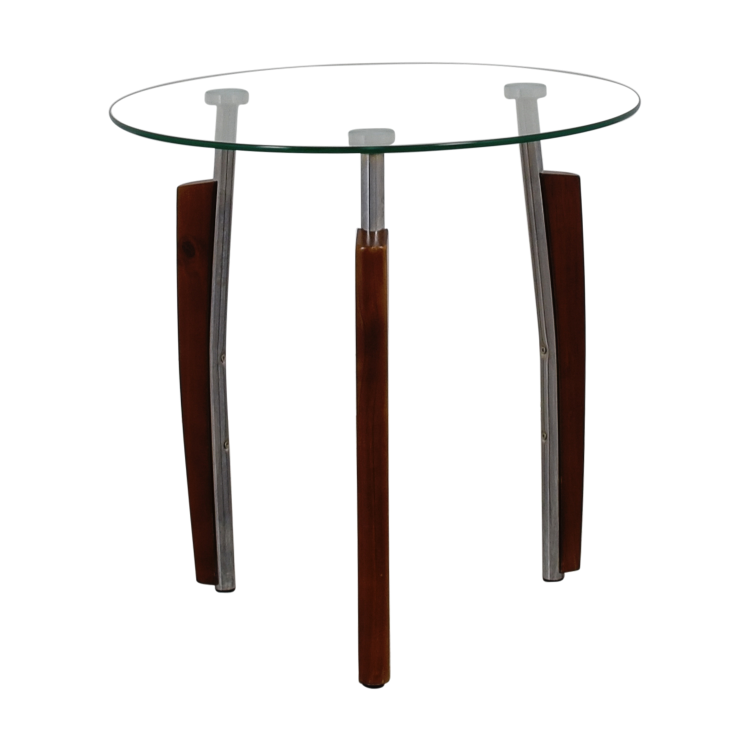Round Glass and Wood Side Table nj
