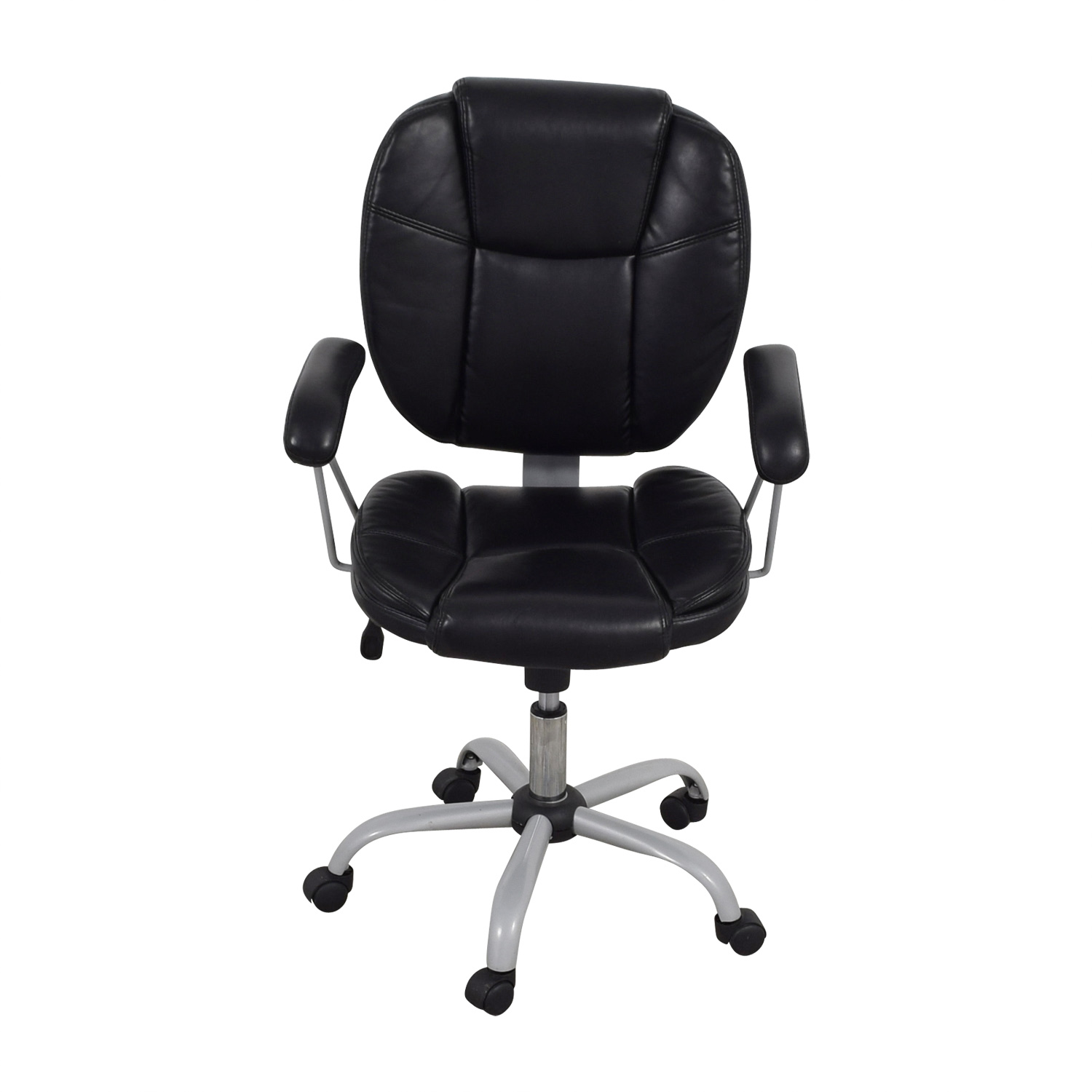 Black Leather Desk Chair black / gray