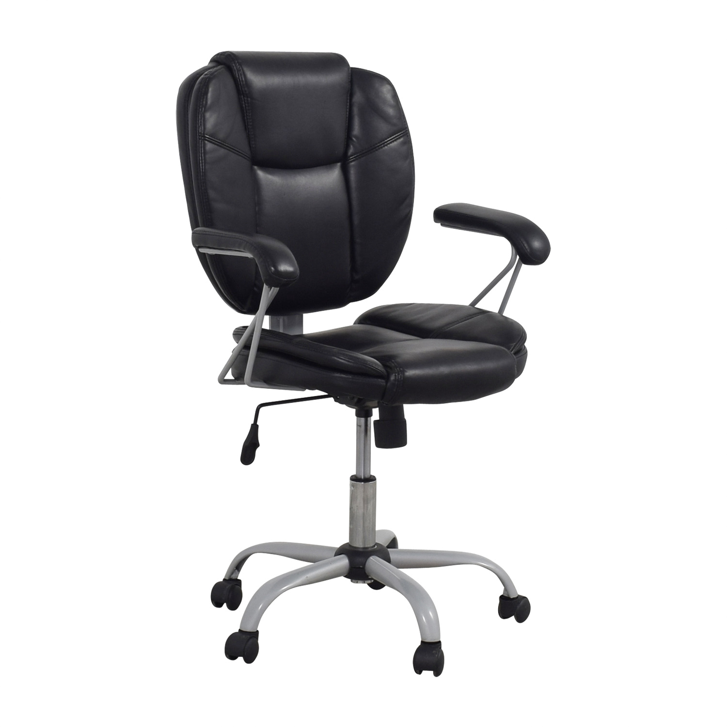 87 off black leather desk chair chairs. Black Bedroom Furniture Sets. Home Design Ideas