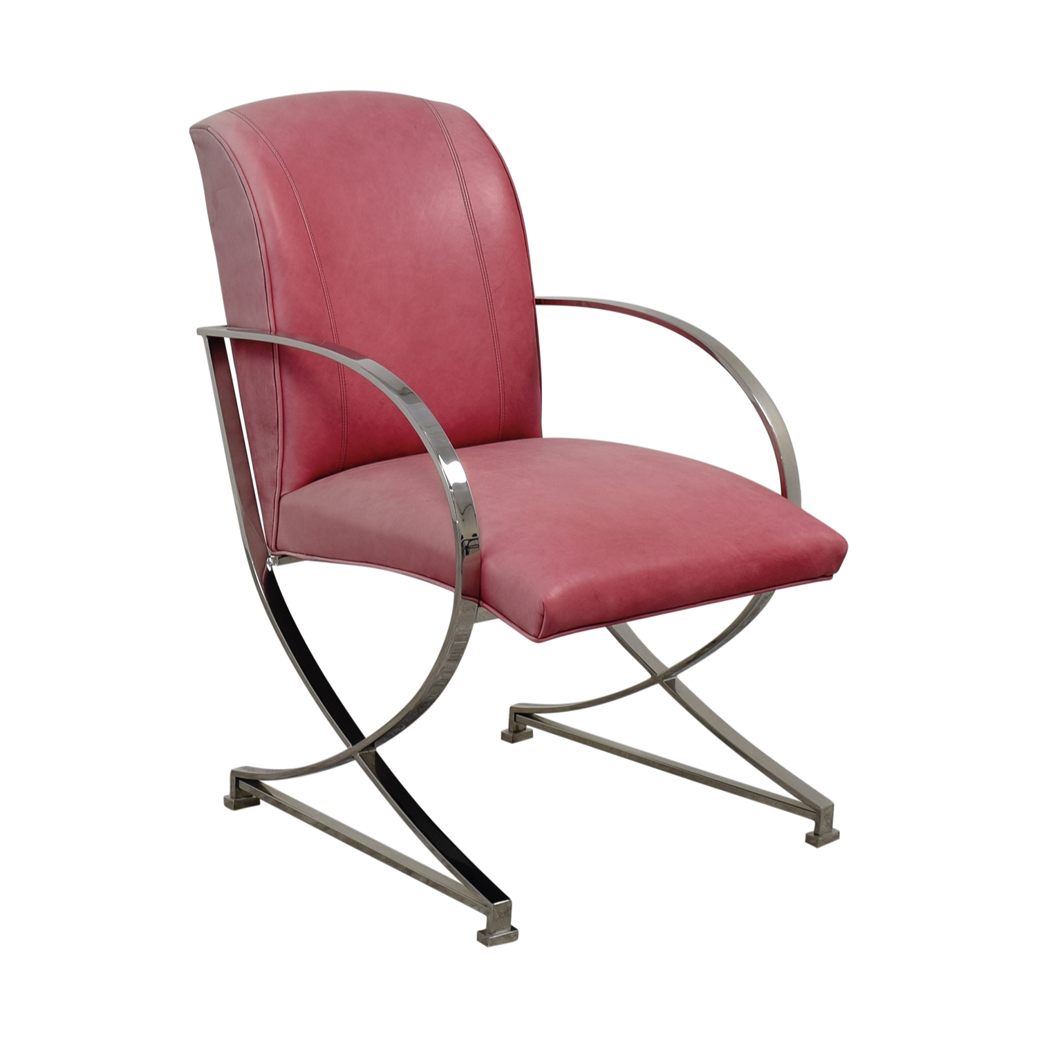 Buy Century Furniture Stainless Steel Pink Leather Chair Century Furniture