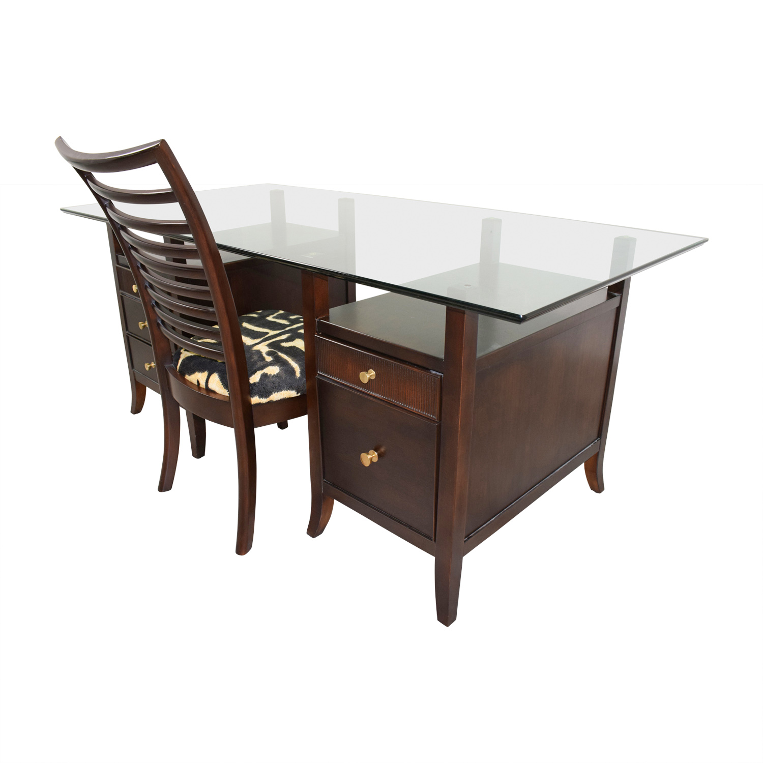 Pleasant 90 Off Stanley Furniture Stanley Furniture Midtown Glass Top Five Drawer Desk With Chair Tables Dailytribune Chair Design For Home Dailytribuneorg