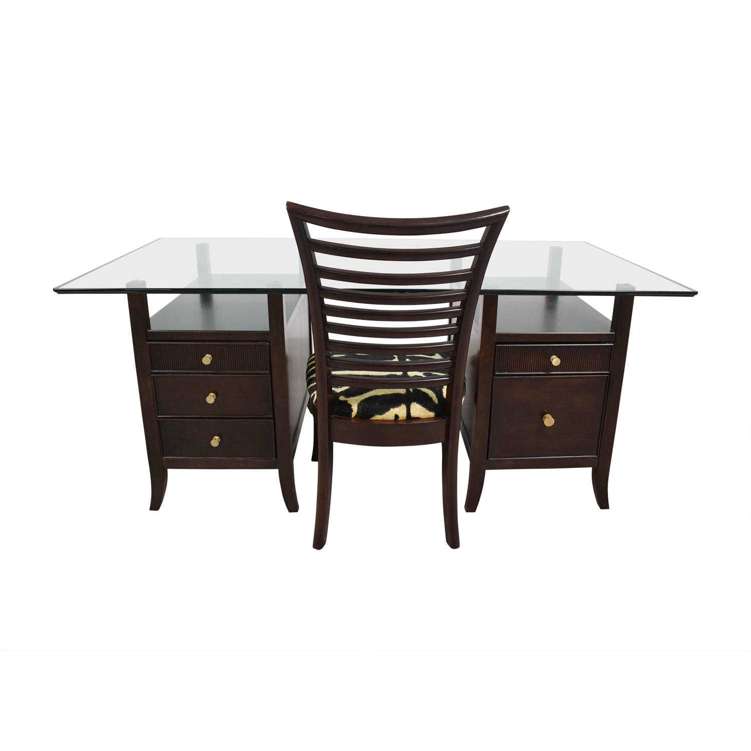 Stanley Furniture Stanley Furniture Midtown Glass Top Five-Drawer Desk with Chair on sale