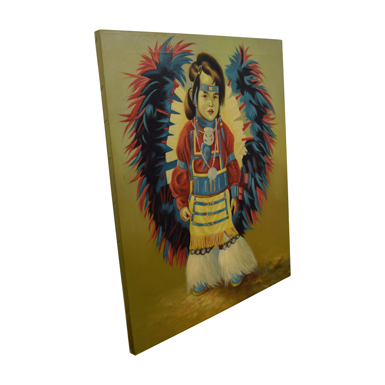 Roy McLean Roy McLean Rainmaker Native American Indian Boy Oil Canvas Painting used
