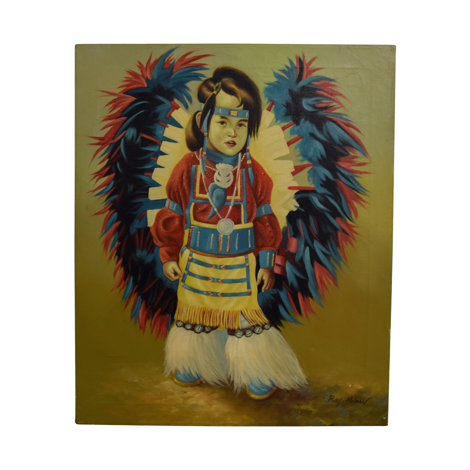 Roy McLean Roy McLean Rainmaker Native American Indian Boy Oil Canvas Painting second hand