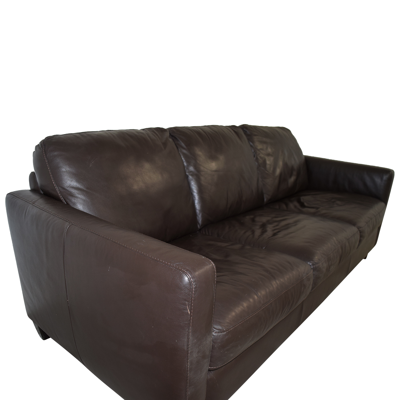 79 Off Natuzzi Natuzzi Brown Leather Three Cushion
