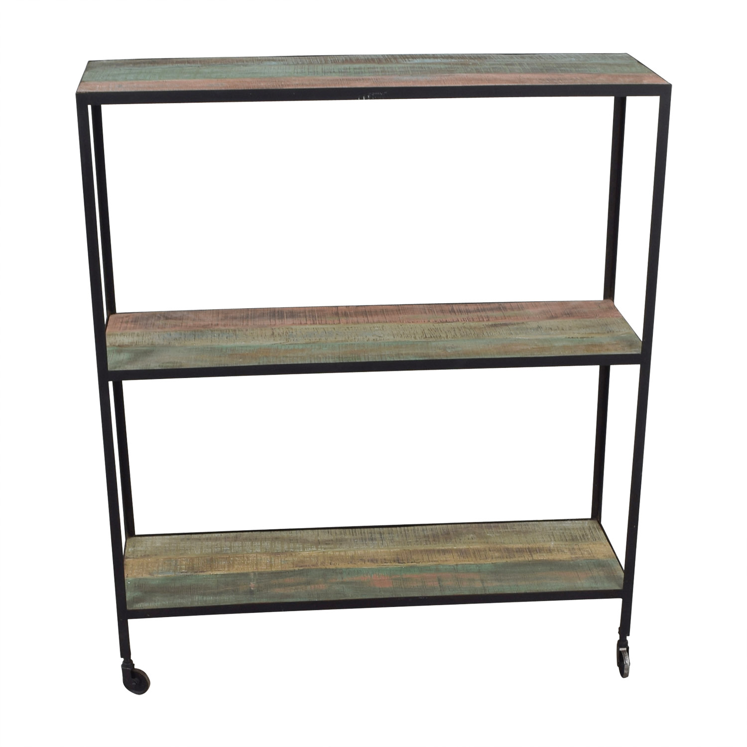 Nadeau Nadeau Rustic Three-Tier Shelf on Castors Bookcases & Shelving