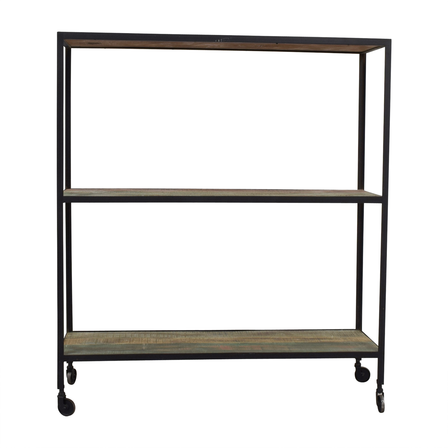 Nadeau Nadeau Rustic Three-Tier Shelf on Castors