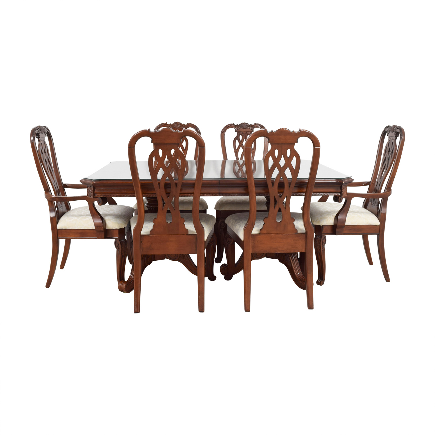 Carved Wood Dining Set with Creme Upholstery and Glass Surface Protector / Dining Sets